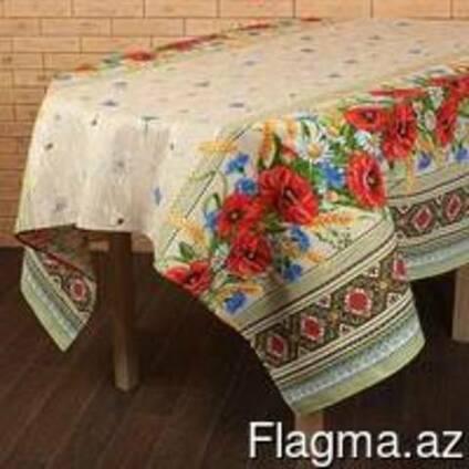 Скатерти, полотенца в украинском стиле, лён-рогожка